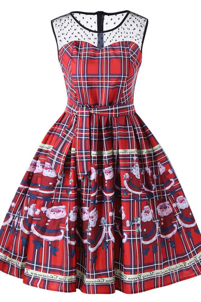 A| Chicloth Christmas Santa Claus Sheer Swing Dress Christmas Dresses-Christmas Dresses-Chicloth