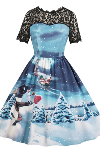 A| Chicloth Snowman Print Lace Panel Vintage A Line Dress Christmas Dresses-Christmas Dresses-Chicloth