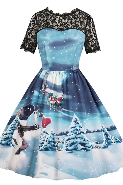 A| Chicloth Snowman Print Lace Panel Vintage A Line Dress Christmas Dresses