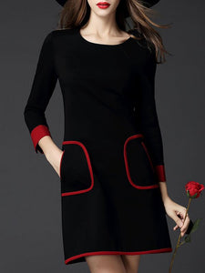 Chicloth Plus Size Black Midi Dress Sheath Date Dress Long Sleeve Casual Pockets Plus Size Dresses-Plus Size Dresses-Chicloth