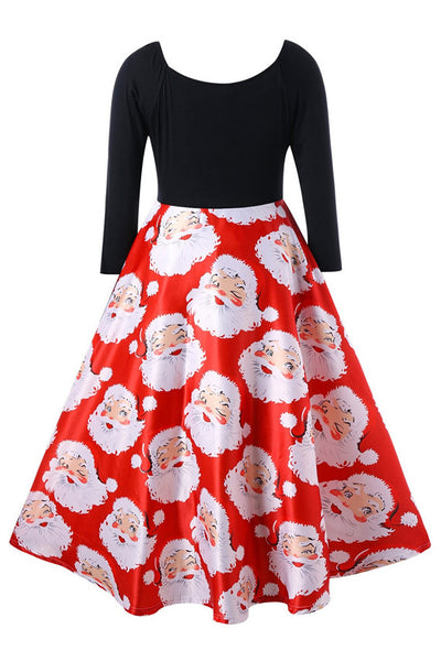 A| Chicloth Christmas Plus Size Santa Claus Print Midi Dress Christmas Dresses-Christmas Dresses-Chicloth