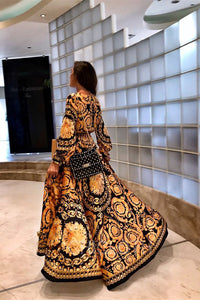 A| Chicloth Early Autumn Long Sleeve V-Neck Print Maxi Dress