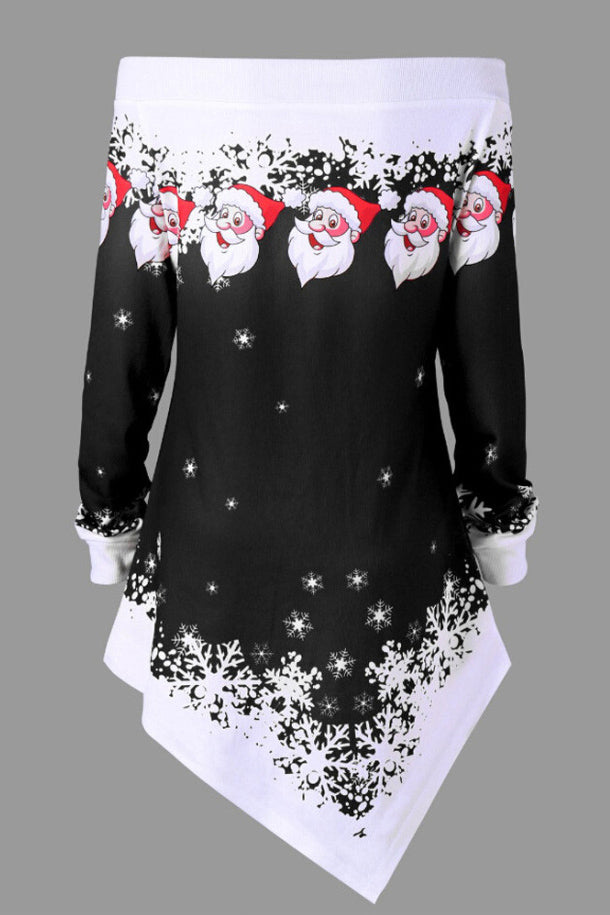 A| Chicloth Christmas Plus Size Off The Shoulder Asymmetric Sweatshirt Christmas Dresses-Christmas Dresses-Chicloth