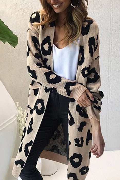 A| Chicloth New Leopard Print Loose Cardigan Sweater-Sweater dresses-Chicloth