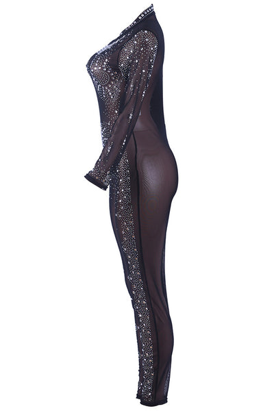 A| Chicloth Womens Sexy Long Sleeve Rhinestone Bodycon Jumpsuit