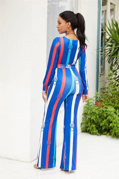 B| Chicloth Blue Ployester Sexy Jumpsuits