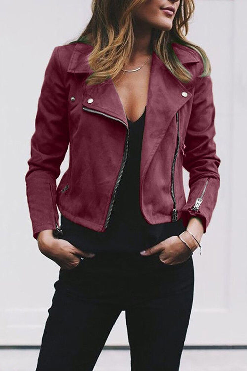 A| Chicloth Stylish Zipper Solid Spread Neck Women Jackets-Jackets-Chicloth