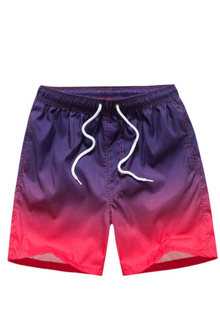 A| Chicloth Gradient Color Block Swimwear Men's Swim Trunks Beach Board Shorts-Chicloth
