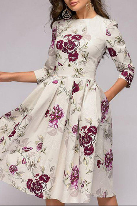 A| Chicloth Round Neck Floral Printed Fashion Skater Dresses Midi Dresses-Midi Dresses-Chicloth