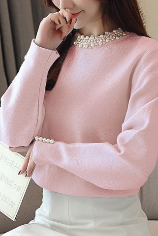 Beaded Long Sleeve Solid Sweaters