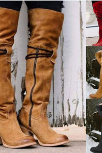 A| Chicloth Vintage Knee High Lace Up Zipper Boots Plus Size Warm Snow Boots-Boots-Chicloth