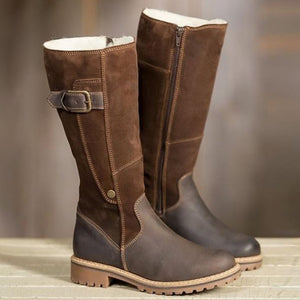 A| Chicloth Warm Ladies High Snow Shoes Leather Martin Boots
