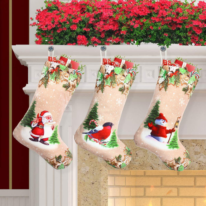 C| Chicloth Christmas stocking gift bag with deer pattern Christmas tree (4 Pics)-Christmas Accessories-Chicloth