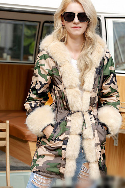A| Chicloth Long Hooded Printed Warm Winter Autumn Outwear Faux Fur Coats-Faux Fur Coats-Chicloth