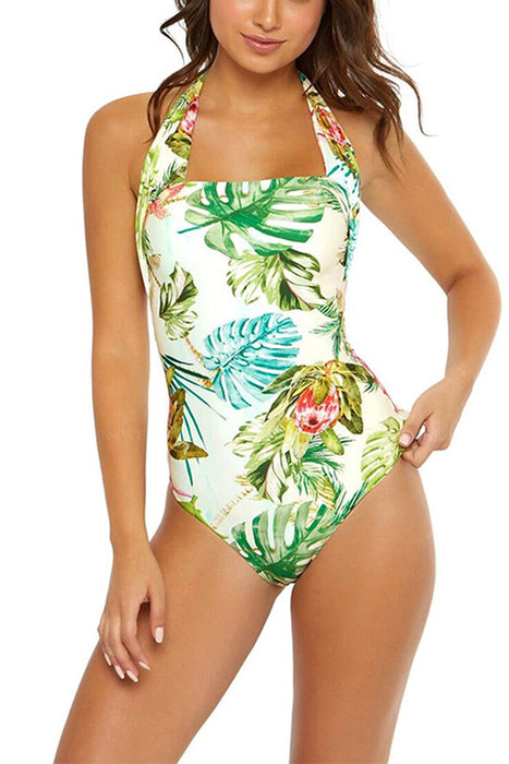B| Chicloth Flowers Pringting Swimsuit Bikinis One-Pieces-One-Pieces-Chicloth