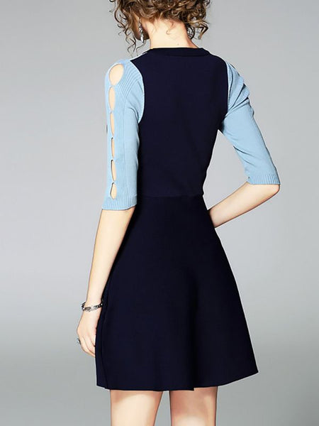Blue Midi Dress A-line Daytime Dress Half Sleeve Casual Paneled Prom Dresses-Midi Dresses-Chicloth