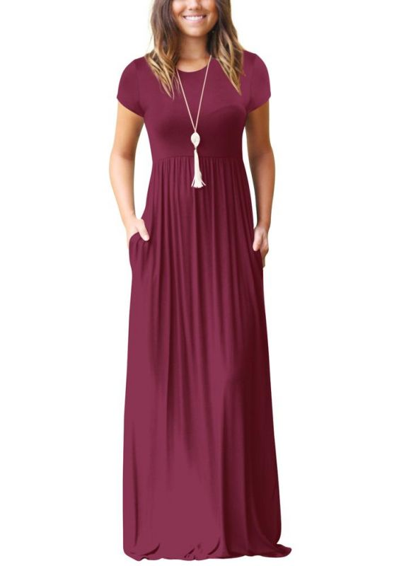 B/ Chicloth Women Maxi Long Dress Short Sleeves O-Neck Pockets Party Evening A-Line Dresses - Burgundy / XXL