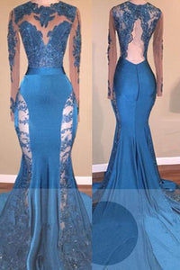 A| Chicloth Blue Long-Sleeve 2019 Prom Dress | Lace Mermaid Formal Dress-Prom Dresses-Chicloth
