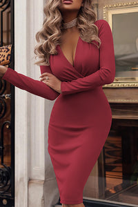 A| Chicloth Hot Sale Solid Fitted Low Cut Women Dress Bodycon Dresses-Bodycon Dresses-Chicloth