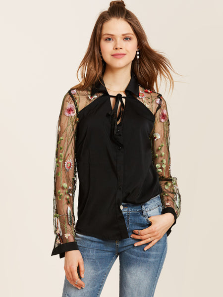 Young17 Lapel Floral Embroidery See-Through Blouse