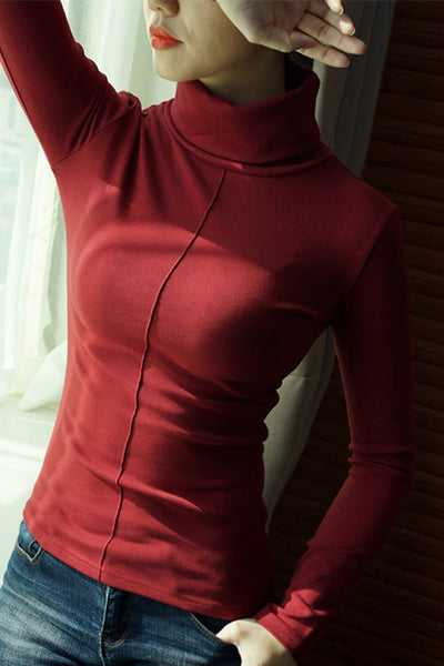 A| Chicloth Female Soft Korean Style Skinny Winter Turtleneck Sweaters-Sweaters-Chicloth