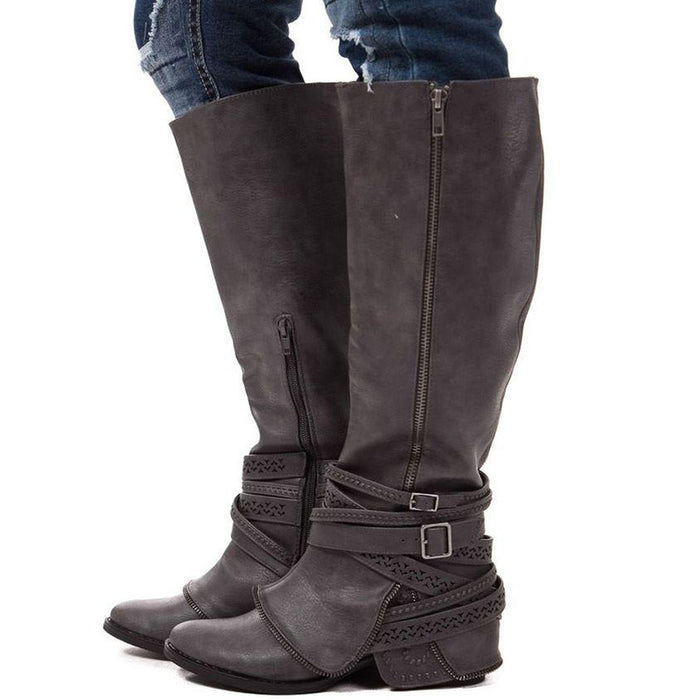 B| Chicloth New Winter Boots Women Gothic Lace Up Knee High Boots-Boots-Chicloth