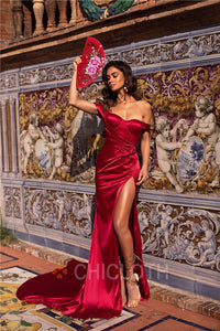 AA| Chicloth Off the Shoulder Burgundy Satin Long Prom Dresses