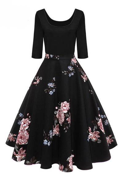 2018 New Red Floral Printed Vintage Dresses Half Sleeve Party Dressed - Chicloth