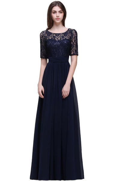 A| Chicloth A-line Scoop Chiffon Elegant Prom Dress With Lace-Evening Dresses-Chicloth
