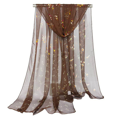 Chicloth Floral Transparent Georgette Rural Style Scarfs