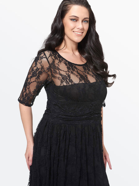 Chicloth Black Hollow Lace High Waist Plus Size Dress