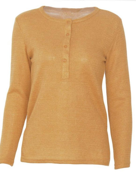 C| Chicloth Autumn Button Up Side Split Round Neck Long Sleeves Women's Pullover-knits&sweaters-Chicloth