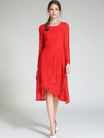 Asymmetrical Daily Casual Guipure lace Midi Dress