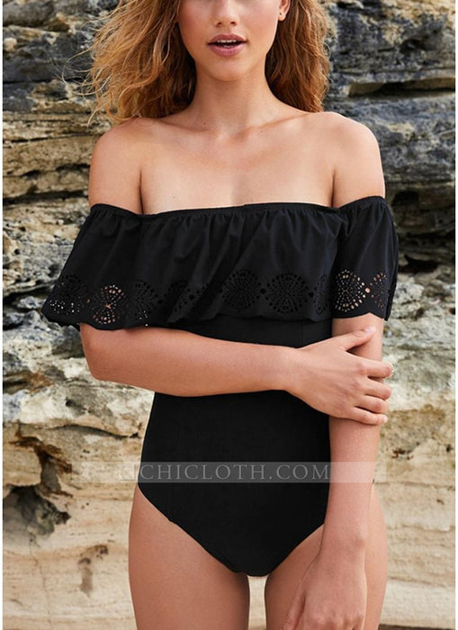 C| Chicloth Solid Off The Shoulder Ruffle Overaly Hollow Out Push Up One Piece Swimsuit-nylon,polyester,onepieceswimsuit-Chicloth