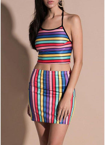 B| Chicloth Cropped Cami Top Skirt Colorful Stripes Halter Neck Sleeveless Two Piece Set