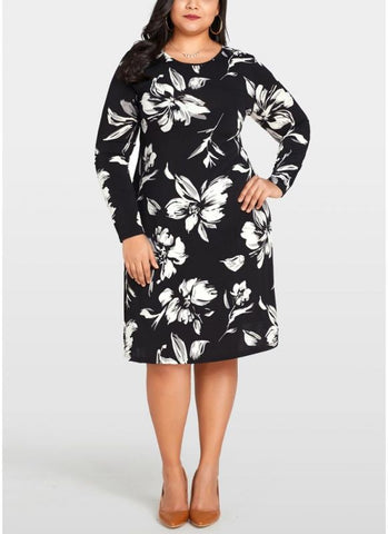 B| Chicloth Women Plus Size Floral Printed Dress O-Neck Long Sleeve Loose Midi Dress-polyester,flower,kneelength,jewel,plussizes,column-Chicloth