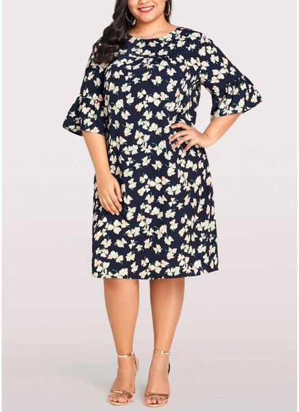 B| Chicloth 2xl Women Plus Size Dress Floral Print Casual Loose Large Size Dress-fzstlsd,kneelength,jewel,plussizedresses-Chicloth