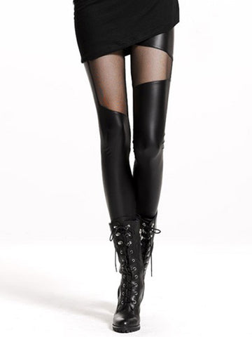 Fall and Winter Slim Sexy Fashion Nightclub Black Net Yarn Stitching Imitation Leather Cropped Leggings