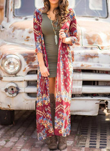 B| Chicloth Boho Floral Print Open Front Three Quarter Sleeve Loose Long Kimono