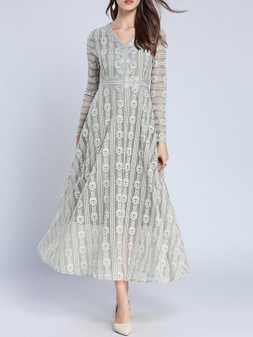 A-line Daytime Long Sleeve Elegant Guipure lace Maxi Dress