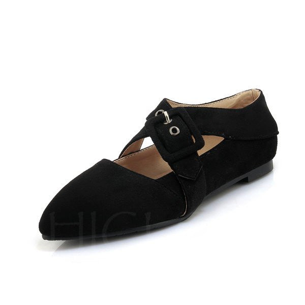 A| Chicloth Casual Flocking Adjustable Buckle Pointed Toe Flats-Chicloth