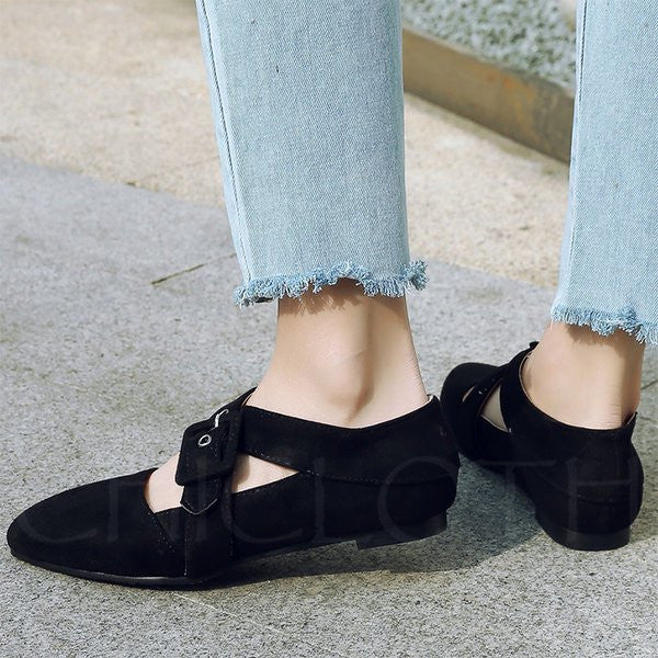A| Chicloth Casual Flocking Adjustable Buckle Pointed Toe Flats