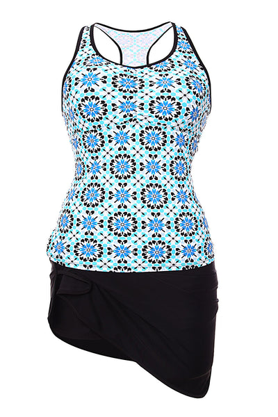 Chicloth Abstract Print Racerback Tankini Blue Skort Swimsuit