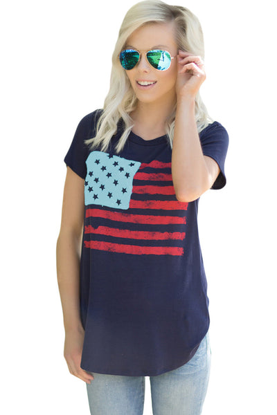 Chicloth All American Flag T-shirt in Navy