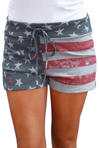 Z| Chicloth American Flag Print Print Charcoal Casual Shorts