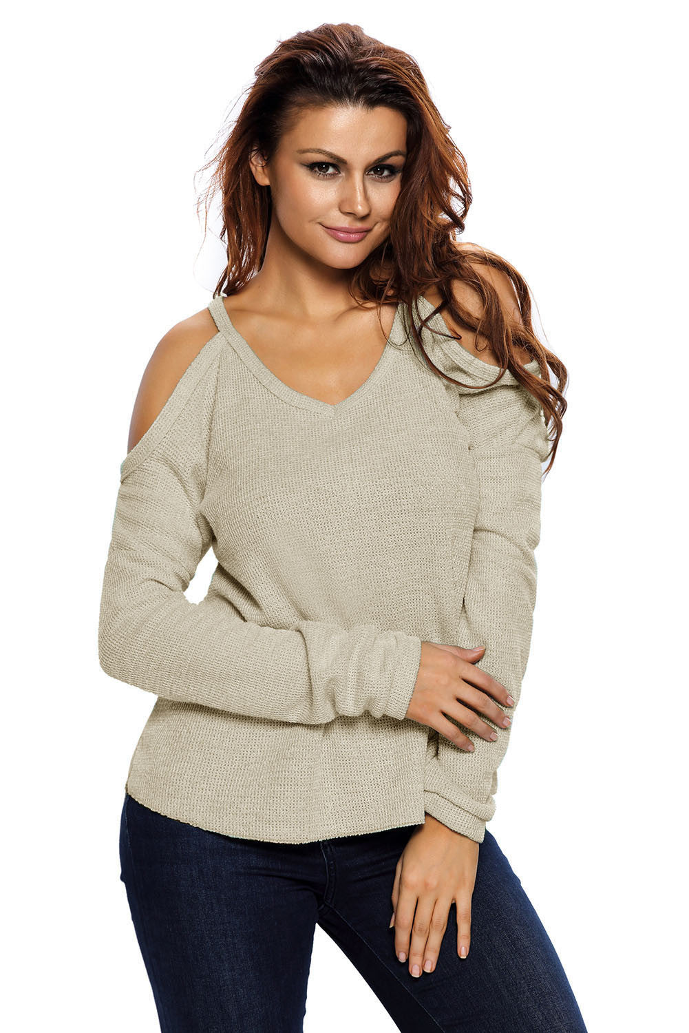 Chicloth Apricot Cold Shoulder Knit Long Sleeves Sweater