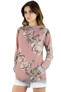 Chicloth Apricot Floral Drawstring Hoodie