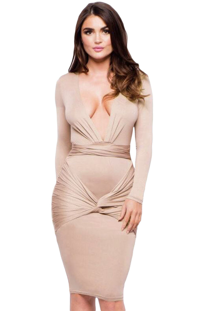 Chicloth Apricot Slinky Knotted Long Sleeve Knee Length Dress-Chicloth