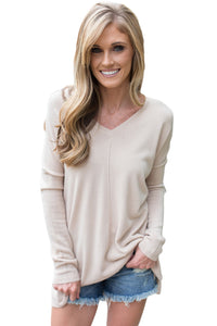 Chicloth Apricot Soft V Neck Sweater