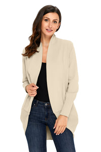 A| Chicloth Apricot Super Soft Long Sleeve Open Cardigan